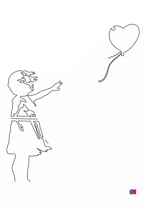 Coloriages de bâtiment et d'oeuvres d'art - Banksy - la petite fille au ballon