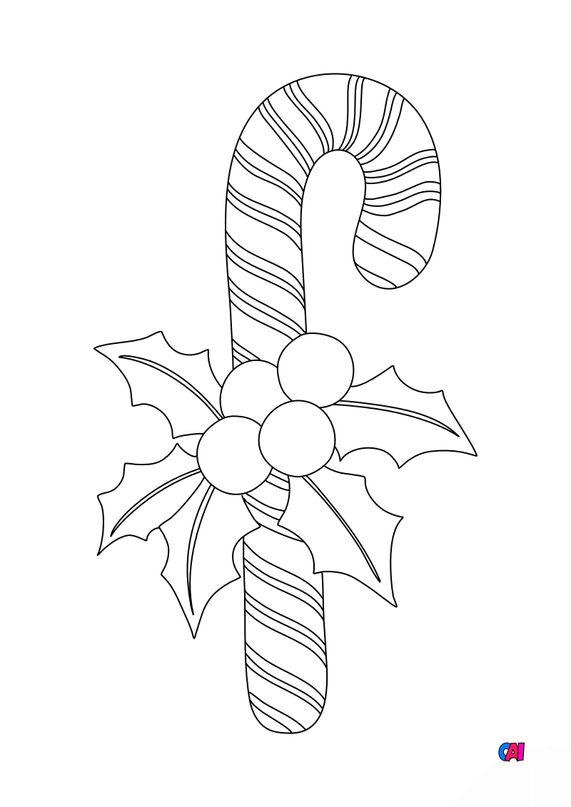 Coloriage de Noël - Sucre d'orge et houx