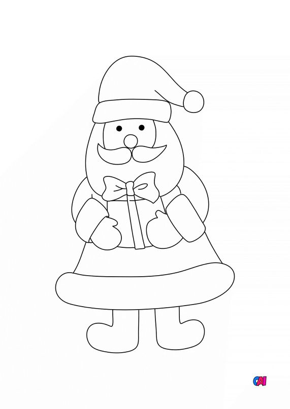 Coloriage de Noël - Père Noël avec un cadeau