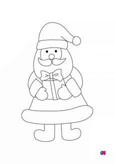 Coloriage Père Noël avec un cadeau