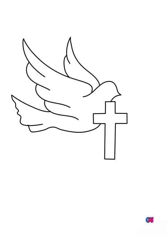 Coloriage Pâques - Colombe et croix