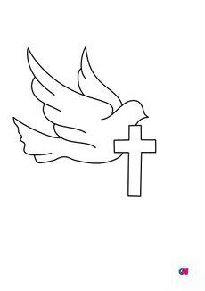 Coloriage Colombe et croix