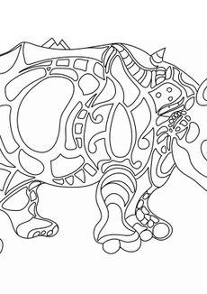 Coloriage Rhinocéros - Niki de Saint Phalle