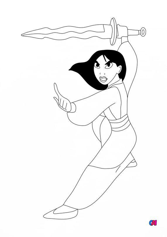 Coloriage Mulan - Mulan au combat