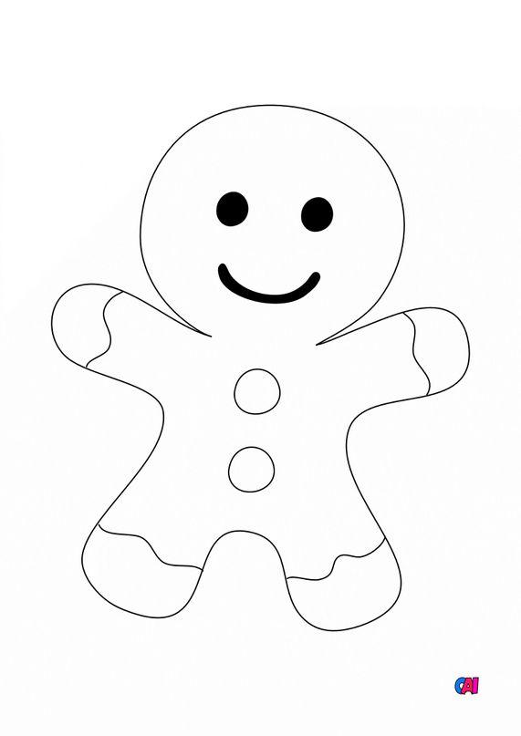 Coloriage de Noël - Petit bonhomme en pain d'épice