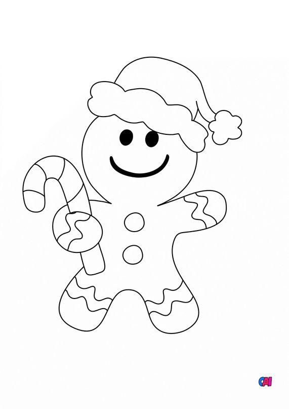 Coloriage de Noël - Bonhomme en pain d'épice