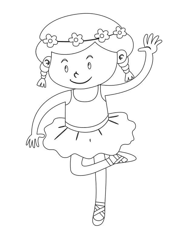 Coloriages de danseuses - Petite danseuse étoile