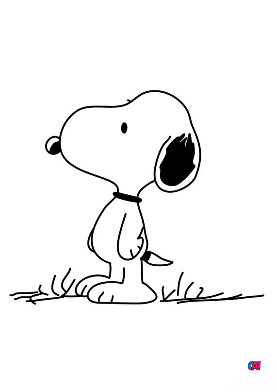 Coloriage Snoopy - Snoopy attentif