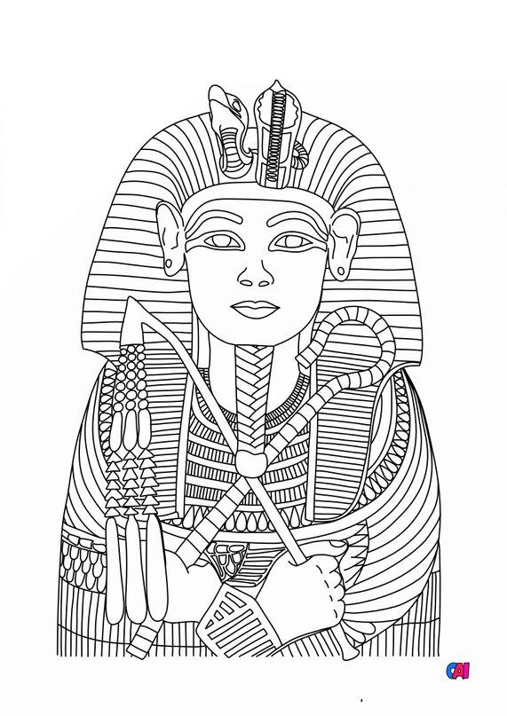 Coloriage Egypte ancienne - Masque funéraire de Toutankhamon
