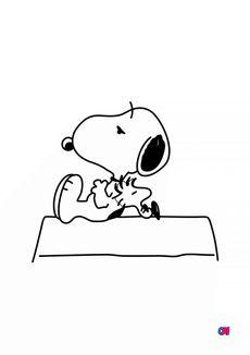 Coloriage Snoopy et Woostock s'endorment sur la niche
