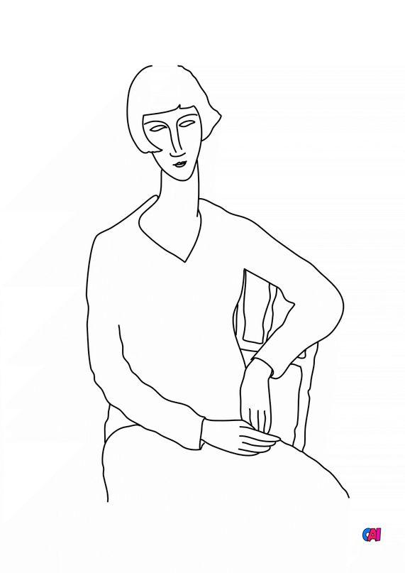 Coloriages de bâtiment et d'oeuvres d'art - L'oeil interieur - Modigliani