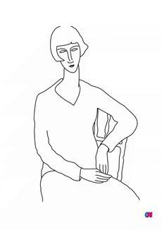 Coloriage L'oeil interieur - Modigliani