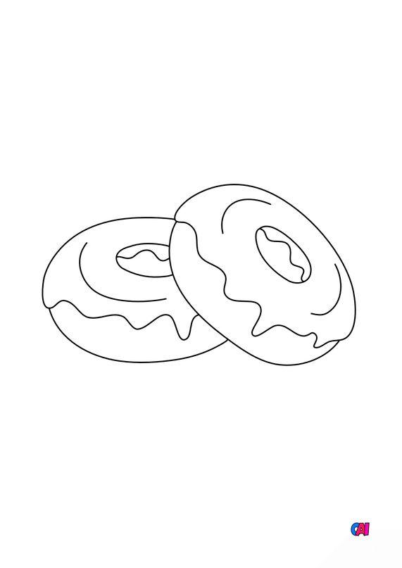Coloriage gastronomie - Donuts