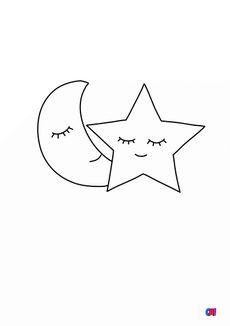 Coloriage Lune et étoile