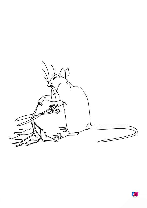 Coloriage des fables de La Fontaine - Le lion et le rat 2