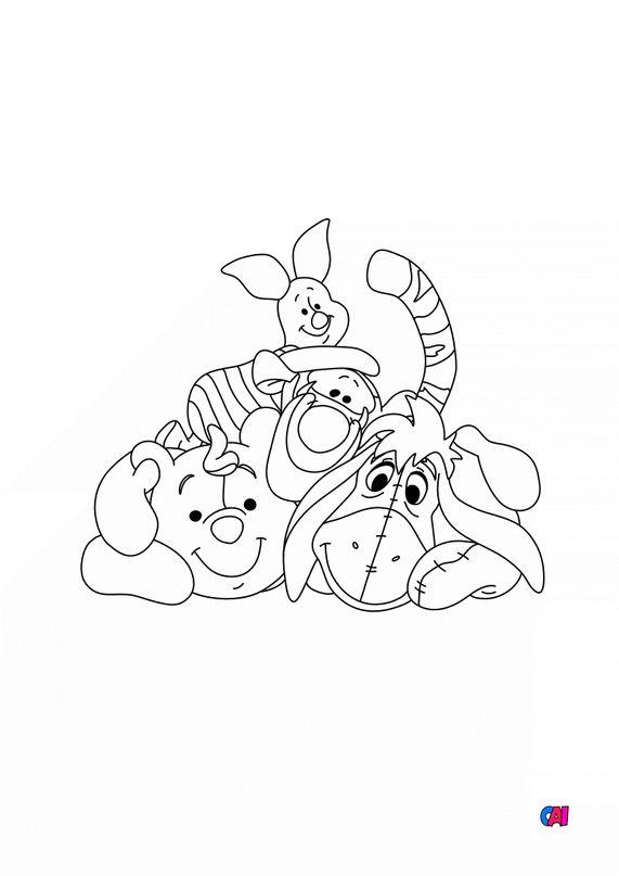 Coloriage Winnie l'ourson - Winnie, Bourriquet, Porcinet et Tigrou