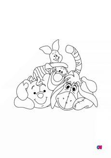 Coloriage Winnie, Bourriquet, Porcinet et Tigrou