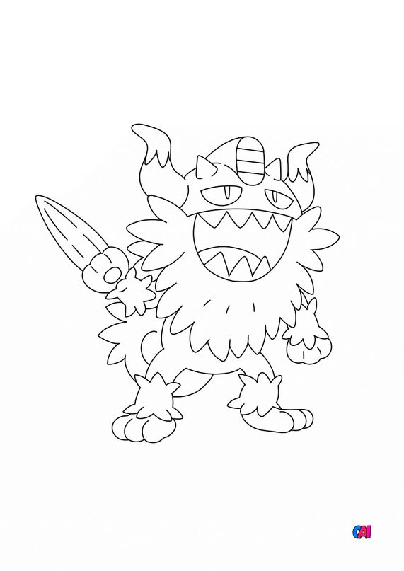 Coloriage Pokémon - 863 - Berserkatt