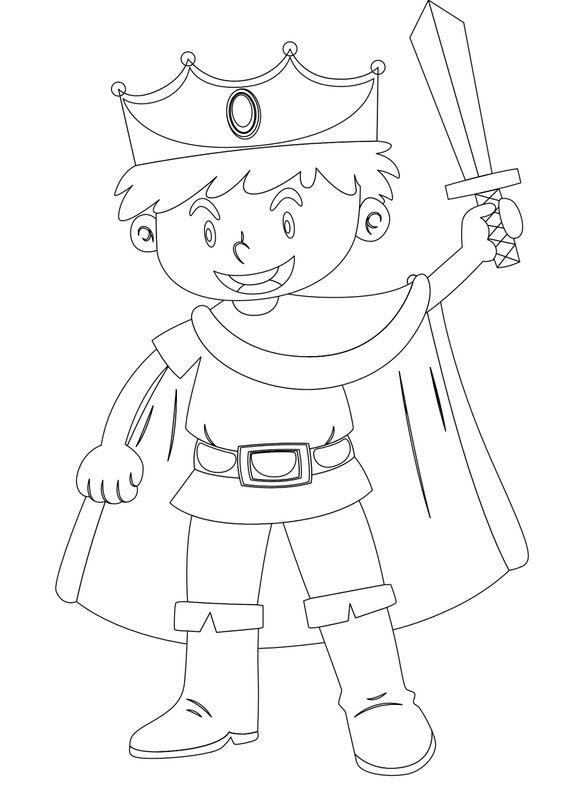 Coloriages de chevalier - le prince et son épée