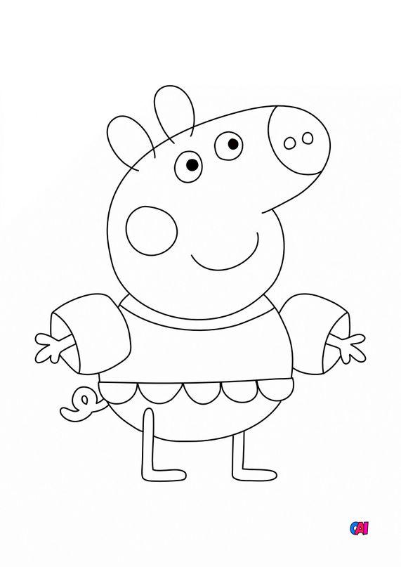 Coloriage Peppa Pig - Peppa a la plage
