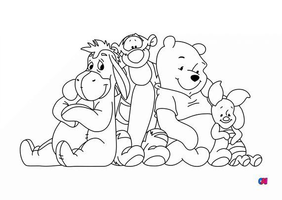 Coloriage Winnie l'ourson - Winnie et ses amis