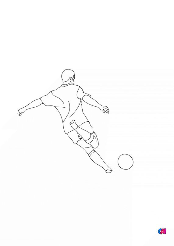 Coloriage Football - Footballeur de dos