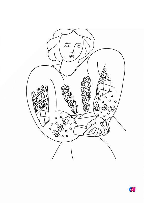 Coloriages de bâtiment et d'oeuvres d'art - La blouse romaine - Matisse