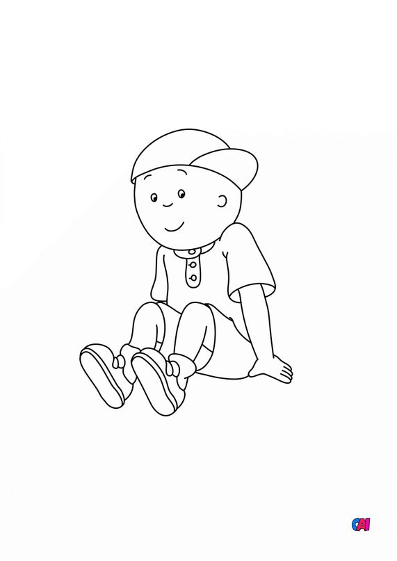 Coloriage Caillou - Caillou assis
