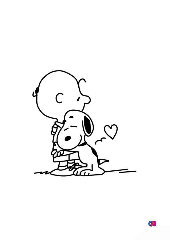 Coloriage Snoopy - Snoopy et Charlie s'étreignent