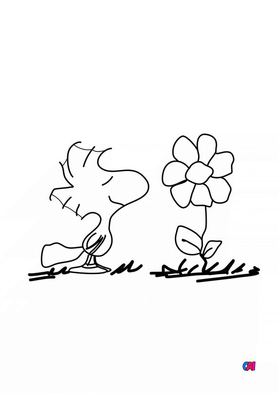 Coloriage Snoopy - Woodstock hume une fleur