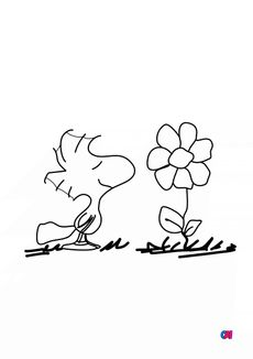 Coloriage Woodstock hume une fleur