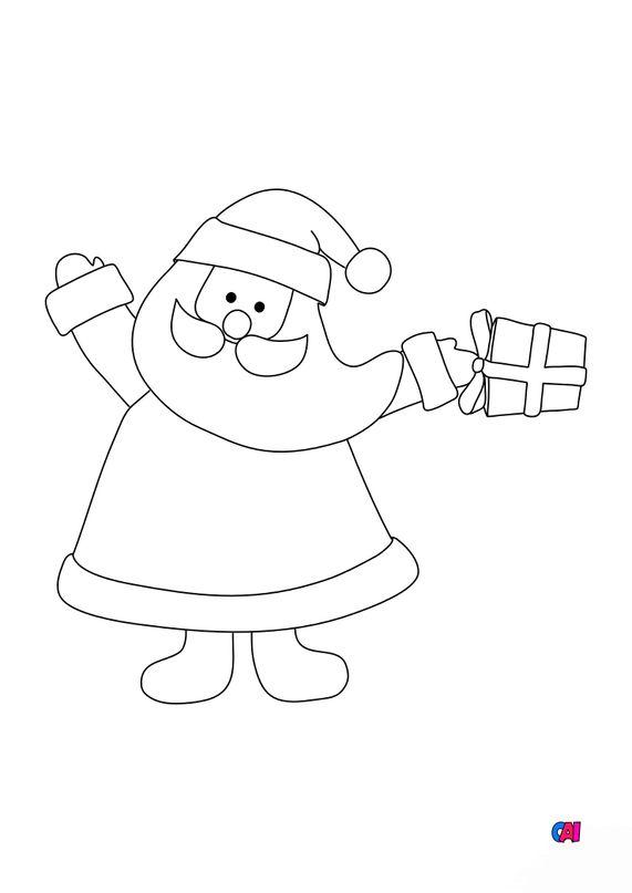 Coloriage de Noël - Le Père Noël et un cadeau
