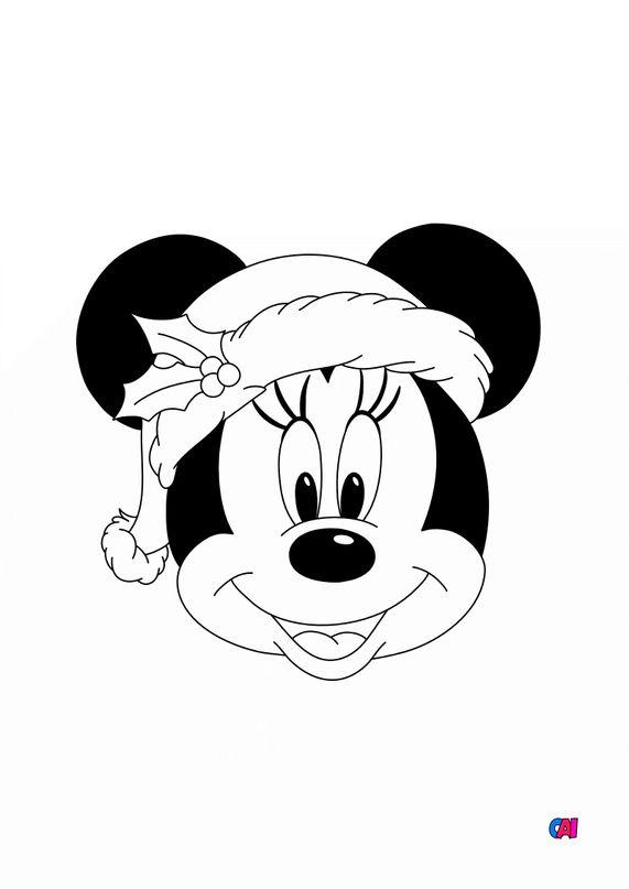 Coloriage de Noël - Tête de Minnie pour Noël
