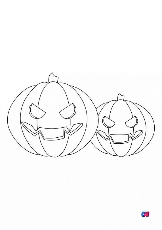 Coloriages Halloween - Deux citrouilles terrifiantes