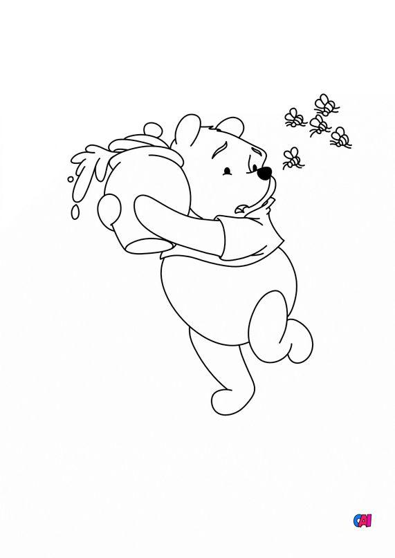 Coloriage Winnie l'ourson - Winnie, le pot de miel et les abeilles