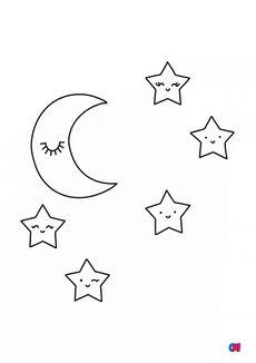 Coloriage Etoiles et lune
