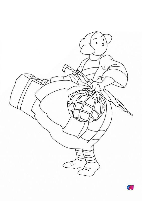 Coloriage Bécassine - Bécassine et sa valise