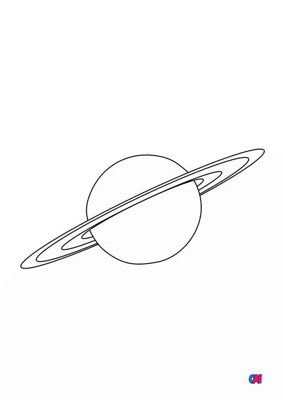 Coloriage d'Astronomie - Saturne