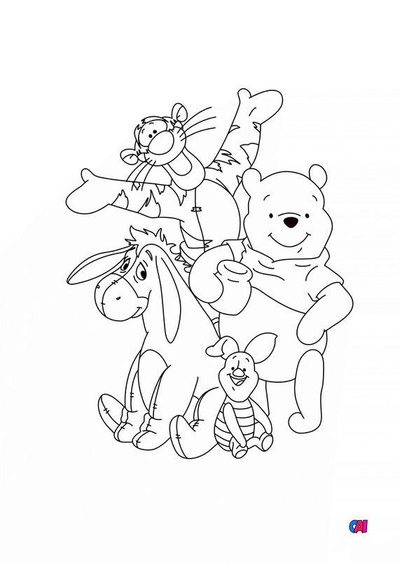 Coloriage Winnie l'ourson - Winnie l'ourson et ses amis