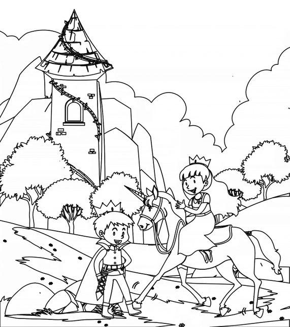Coloriage de Princesses - La princesse et le chevalier