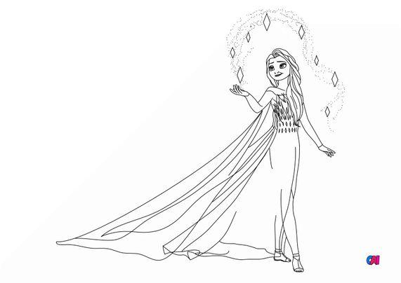 Coloriage la reine des neiges - Elsa le cinquième esprit