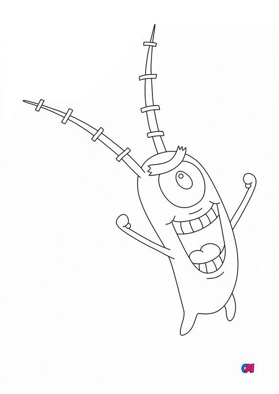 Coloriage Bob l'éponge - Sheldon plankton