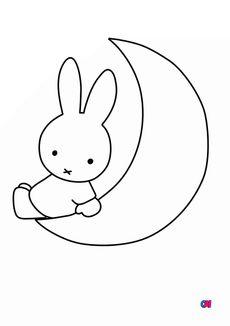 Coloriage Miffy et la lune