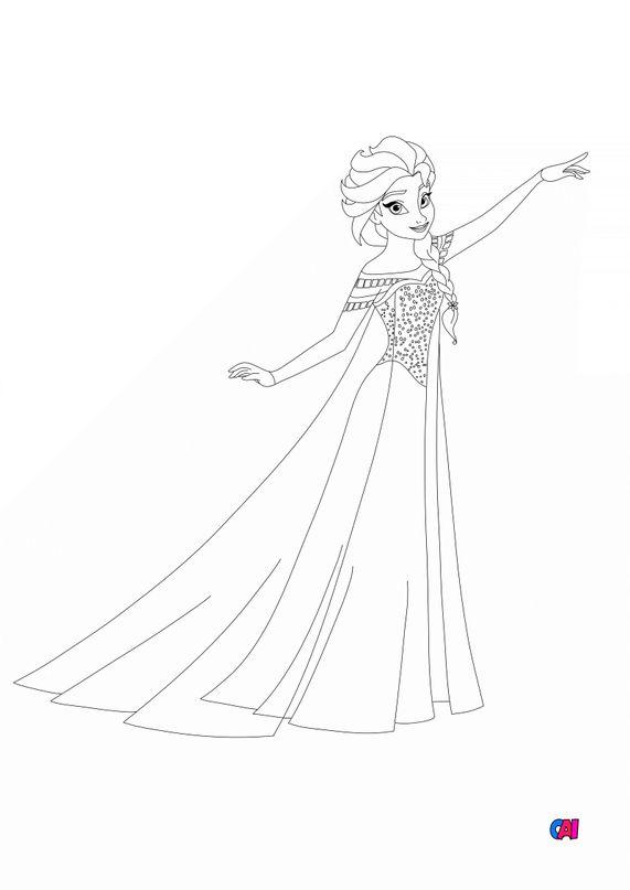 Coloriage la reine des neiges - Elsa pouvoir de glace