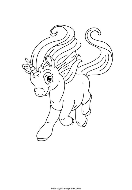 Coloriage Licornes - mignonne petite licorne