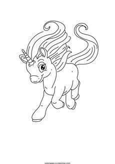 Coloriage mignonne petite licorne