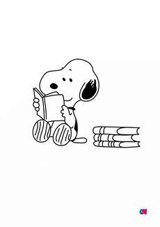Coloriage Snoopy lit