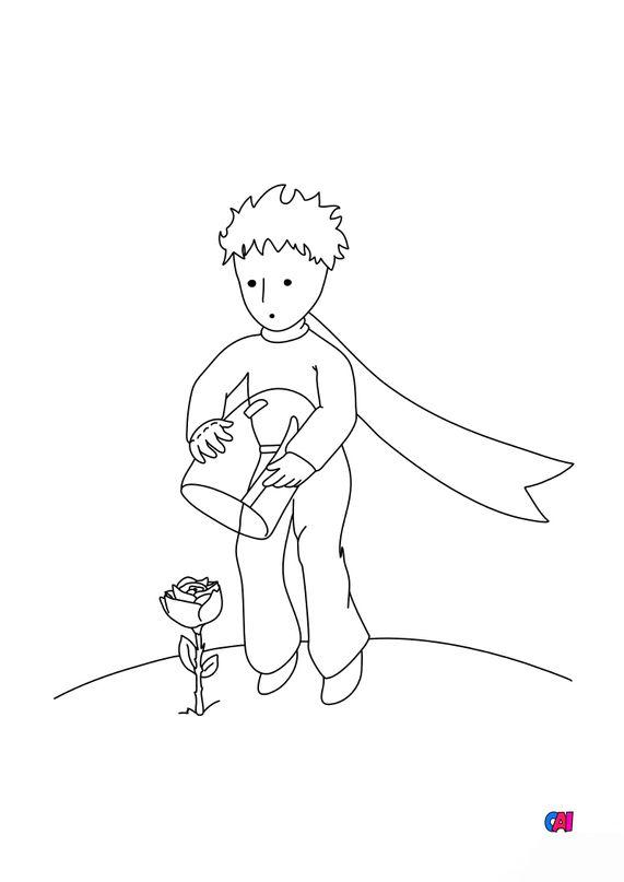 Coloriage Le petit Prince - Le petit Prince et sa rose