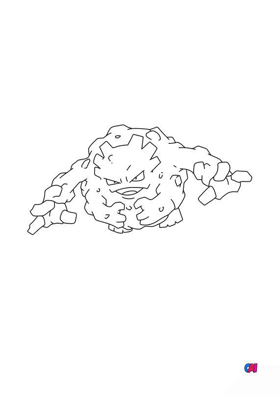 Coloriage Pokémon - 75 - Gravalanch