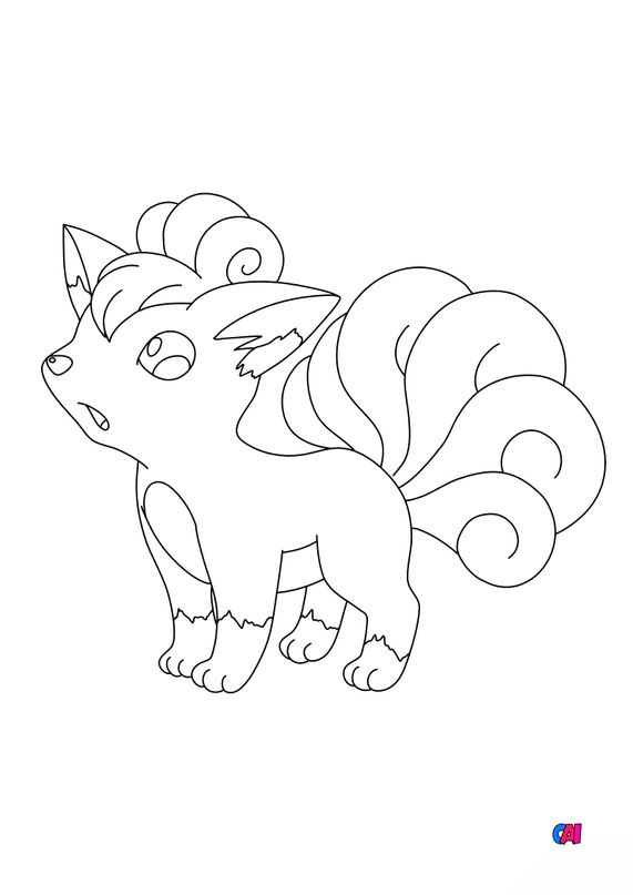 Coloriage Pokémon - 37 - Goupix
